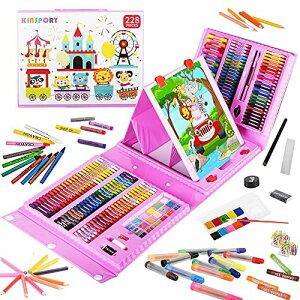 お絵描きセット 子供用 アートセット、KINSPORY 超豪華 両面イーゼル 水彩画 色鉛筆 絵の具 マーカー クレヨン