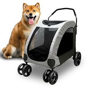 ペットカート 大型犬 中型犬 4輪 耐荷重60kg ペットカート 多頭 大型犬の介護用 犬用 バギー お出かけ 通気