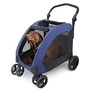 ペットカート 犬用 キャリーカート ペットバギー 折りたたみ式 大型犬 多頭中小型犬 犬用 猫用 ドッグカート-ブルー (307