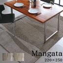 ダイニング ラグ Mangata モーンガータ カーペット ホットカーペット対応 床暖房対応 日本製 クラスティーナ グレー アイボリー 220cm×250cm