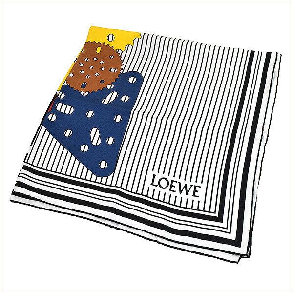 【中古】LOEWE ロエベ 15AW メカノピンデザインスカーフ ブランド ホワイト × ブラック