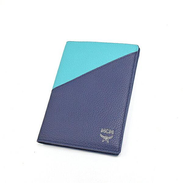 【中古】MCM エムシーエム SAMPLE レザーパスポートケース ブランド ネイビー×グリーン