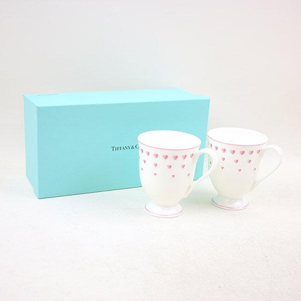 【中古】TIFFANY&Co ティファニー ティファニーピンクハートマグ ハートプリントティーカップセット ブランド ホワイト