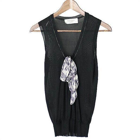 YVES SAINT LAURENT イヴサンローラン リボン装飾シルクニットベスト ブラック S【中古】