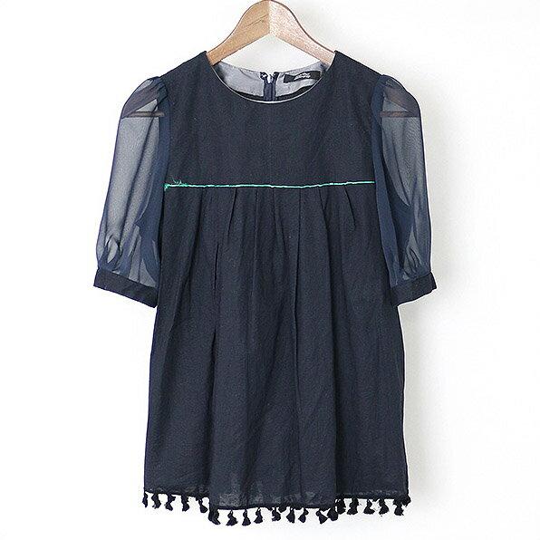 UNDER COVER アンダーカバー 15SS 裾タッセルフリンジ半袖ブラウス ネイビー 2【中古】