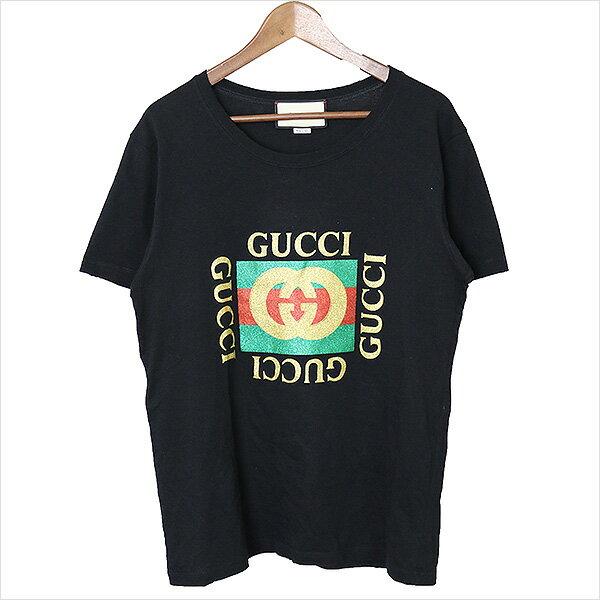 【中古】GUCCI グッチ グリッターロゴTシャツ 492347 X3H07 レディース ブラック S