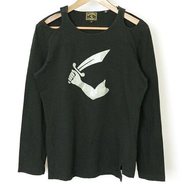 【中古】ANGLOMANIAアングロマニア90'sカットラスプリントオープンショルダーロングスリーブTシャツレディースブラックM
