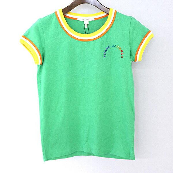 【中古】MARC JACOBS マーク ジェイコブス ロゴ刺繍Tシャツ レディース グリーン XS