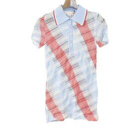 【中古】STELLA McCARTNEY ステラマッカートニー チェック柄ロングニットポロシャツ レディース サックスブルー 38