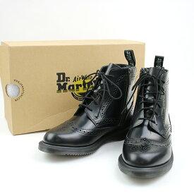 【中古】Dr.Martens ドクターマーチン 17AW KENSINGTON DELPHINE 6EYE BROGUE BOOT サイドジップレザーブーツ ブラック UK5(24cm程度) レディース