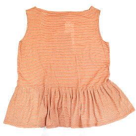 【中古】THE ROW ザ ロウ ボーダーフレアノースリーブTシャツ オレンジ S レディース