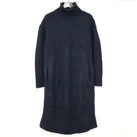 【中古】beautiful people ビューティフルピープル 16AW transfer pattern rib knit dress タートルネックリブ編みニットワンピース ネイビー 36 レディース