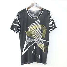 【中古】DIESEL ディーゼル 袖リブ総柄カットソー Tシャツ ブラック S レディース