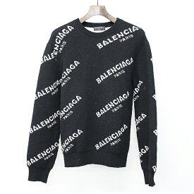 【中古】BALENCIAGA バレンシアガ 17AW ALL OVER LOGO JACQUARED KNIT 総ロゴニットセーター ブラック サイズ表記なし レディース