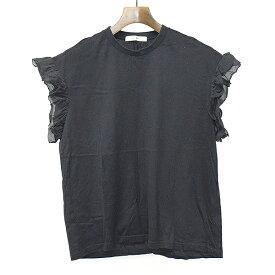 【中古】Julien David ジュリアンデイヴィッド フリルノースリーブTシャツ ブラック S レディース