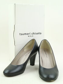 【中古】tsumori chisato WALK ツモリチサト ウォーク ラウンドトゥヒールレザーシューズ ブラック 23cm レディース