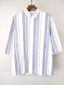 【中古】Y's ワイズ ポリエステルシルクハーフスリーブストライプシャツ サックスブルー 3 レディース