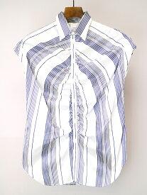 【中古】Y's ワイズ ポリエステルシルクギャザーデザインノースリーブストライプシャツ サックスブルー 3 レディース