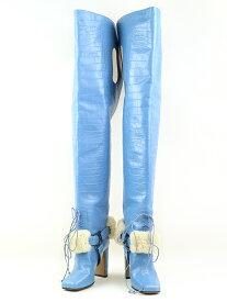 【中古】OFF-WHITE オフホワイト ファーストラップ付ロングブーツ ブルー サイズ表記無し(23cm程度) レディース
