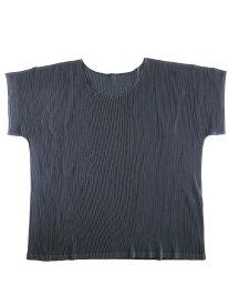 【中古】PLEATS PLEASE ISSEY MIYAKE プリーツプリーズ イッセイミヤケ 17SS アコーディオンプリーツUネックTシャツ ブラック 3 レディース