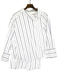 【中古】Maison MIHARA YASUHIRO メゾン ミハラヤスヒロ 18SS ピンストライプアシンメトリーシャツ ホワイト 36 レディース