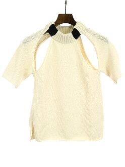 CELINE Celine cutting design cotton silk knit ivory XS Lady's