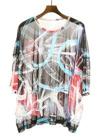【中古】Y's ワイズ グラフィックプリントメッシュワイドTシャツ マルチカラー 2 レディース