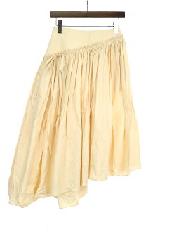LEMAIRE Lemerre 17SS asymmetric cotton pleated skirt pink 36 Lady's