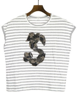 Y's Wise 18SS camouflage patch sleeveless horizontal stripe T-shirt white 2 Lady's