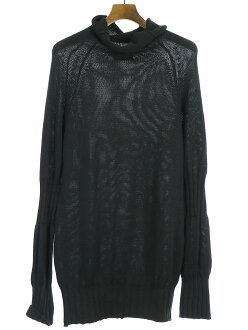 Y's Wise cotton T-cloth rib design high neck knit sweater black Lady's