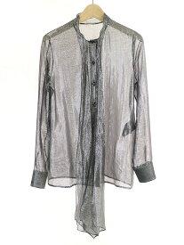 【中古】SAINT LAURENT PARIS サンローラン パリ 13AW ラメストール付きシャツ シルバー 36 レディース