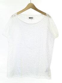 【中古】MM6 エムエムシックス 12SS 穴あきデザインTシャツ ホワイト S レディース