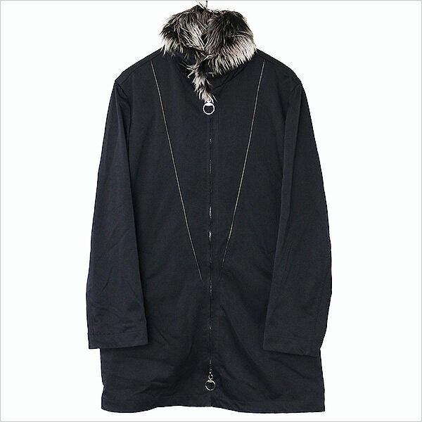 GUCCI グッチ レザーパイピングアルパカファーモッズコート ブラック 46【中古】