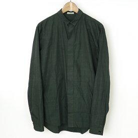 Dior HOMME ディオールオム チェック柄比翼タイニーカラーシャツ グリーン 38【中古】