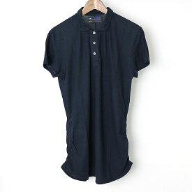 TIM HAMILTON ティムハミルトン ナチュラルコットンドレープロングポロシャツ ネイビー S【中古】