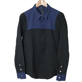 SRIVER スリヴァー 2トーン比翼デザインシャツ ネイビー×ブラック 1【中古】