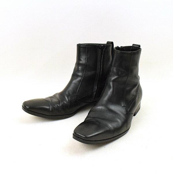 Dior HOMME ディオールオム 07AW サイドジップレザーブーツ ブラック 40(25cm程度)【中古】