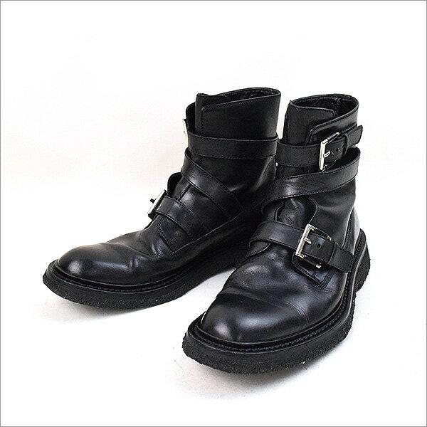 Dior HOMME ディオールオム 08AW ラバーソールベルテッドレザーブーツ ブラック 40.5(25.5cm程度)【中古】