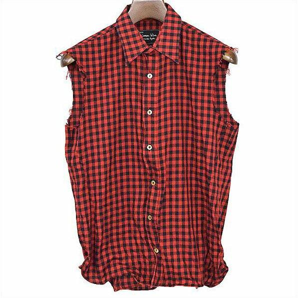 NUMBER NINE ナンバーナイン バッファローチェックワイヤーノースリーブシャツ レッド 2【中古】