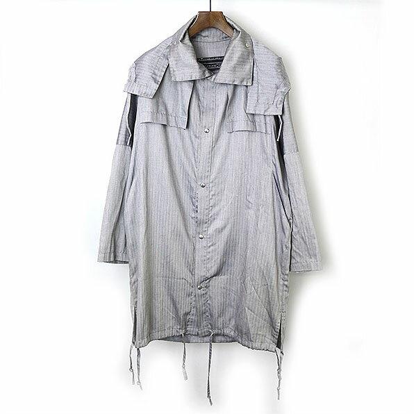 fabrics interseason ファブリックインターシーズン ヘリンボーン柄モッズコート グレー S【中古】