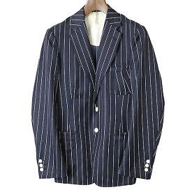 【中古】m's braque エムズブラック シルク混ダブルブレストストライプテーラードジャケット メンズ ネイビー 38