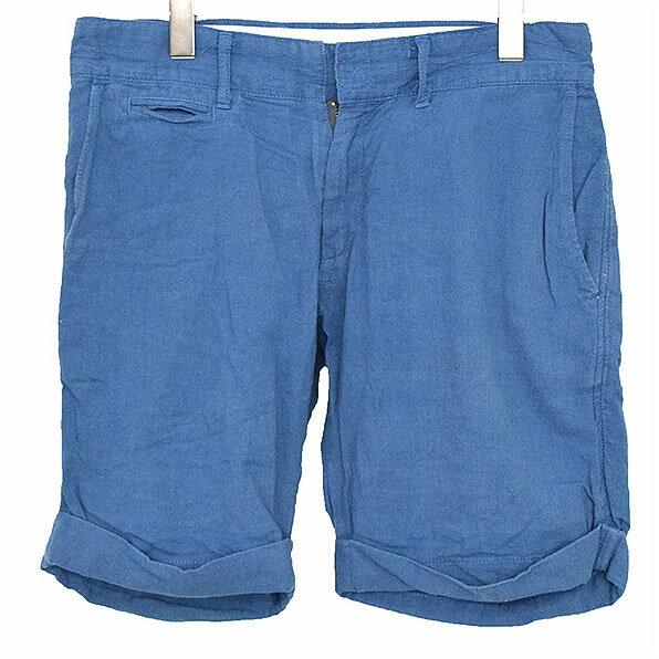 【中古】SASQUATCH fabrix サスクワァッチファブリックス EO TO TO トライバルスカルパッチコットンリネンショーツ メンズ ブルー L