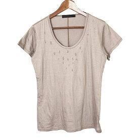 【中古】SRIVER スリヴァー リヨセルコットンシルケットダメージ加工Tシャツ メンズ 無地 ブラウン 未表記