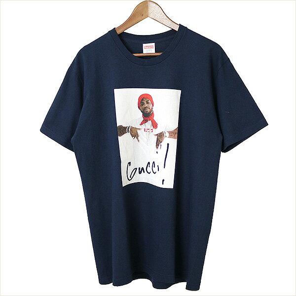 【中古】Supreme シュプリーム 16AW Gucci Mane Tee グッチメインTシャツ メンズ ネイビー L