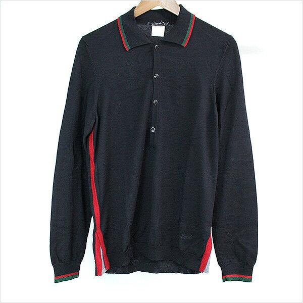 【中古】GUCCI グッチ シェリーライン長袖ニットポロシャツ メンズ ブラック M