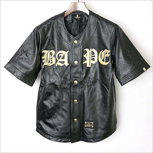 【中古】A BATHING APE ア ベイシング エイプ BLACK レザーベースボールシャツ メンズ ブラック M