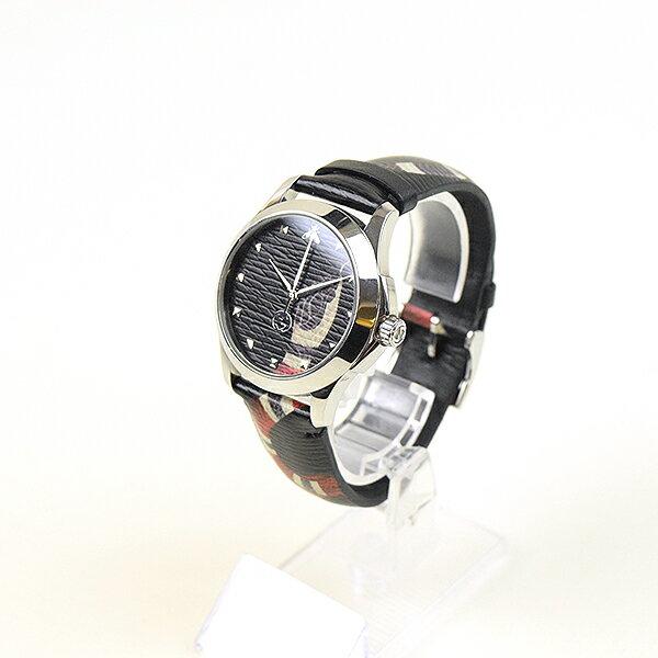 【中古】GUCCI グッチ YA1264007 17AW キングスネークレザーストラップミディアムウォッチ 腕時計 メンズ ブラック