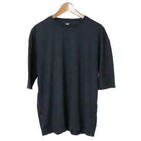 【中古】DESCENTE デサント ZEROSEAM BIG Tシャツ メンズ 無地 ネイビー L