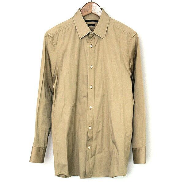 【中古】GUCCI グッチ レギュラーカラーブロードシャツ メンズ ブラウン 40