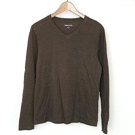 【中古】three dots スリードッツ Ryan サンドジャージーVネックロングスリーブTシャツ メンズ 無地 ブラウン S